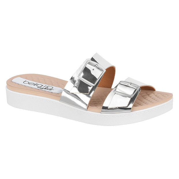 Beira Rio 8323-104 Slip on Slides in Silver