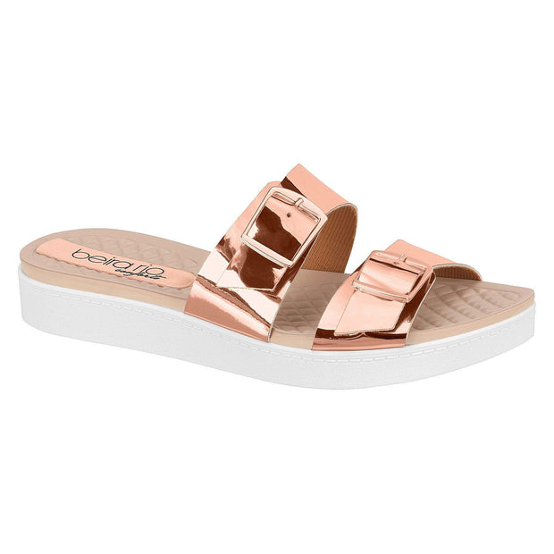 Beira Rio 8323-104 Slip on Slides in Rose Gold