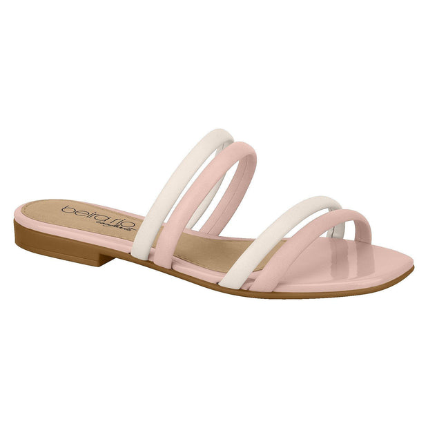 Beira Rio 8328-126 Two Strap Slip-on Sandal in Cream/Pink