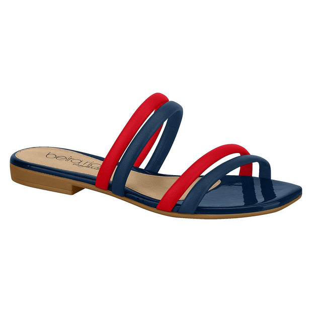 Beira Rio 8328-126 Two Strap Slip-on Sandal in Red/Navy Flats Beira Rio