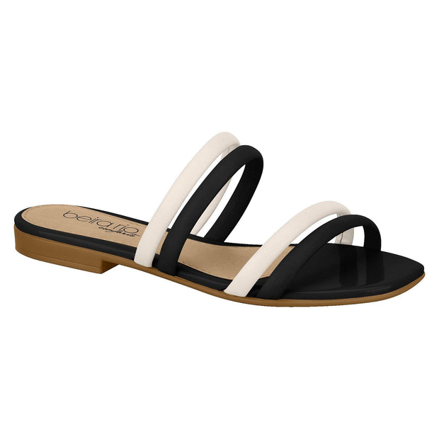 Beira Rio 8328-126 Two Strap Slip-on Sandal in Cream/Black Flats Beira Rio