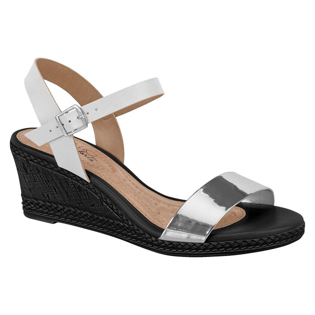 Beira Rio 8332-102 Summer Wedge in White/Silver Wedges Beira Rio