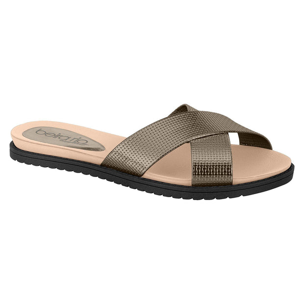 Beira Rio 8337-105 Slip-on Slide in Graphite Flats Beira Rio
