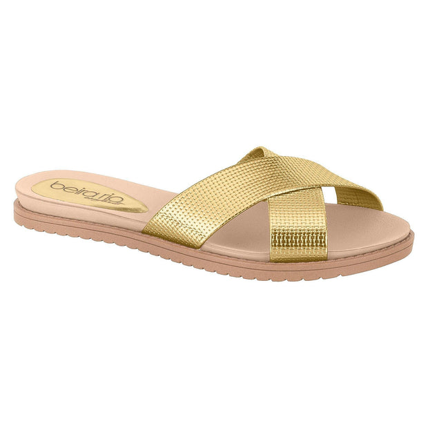 Beira Rio 8337-105 Slip-on Slide in Gold Flats Beira Rio