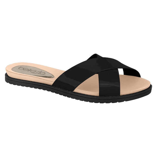 Beira Rio 8337-105 Slip-on Slide in Black Flats Beira Rio