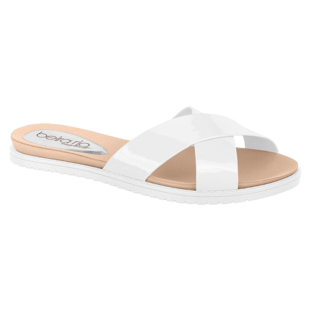 Beira Rio 8337-105 Slip-on Slide in White Flats Beira Rio