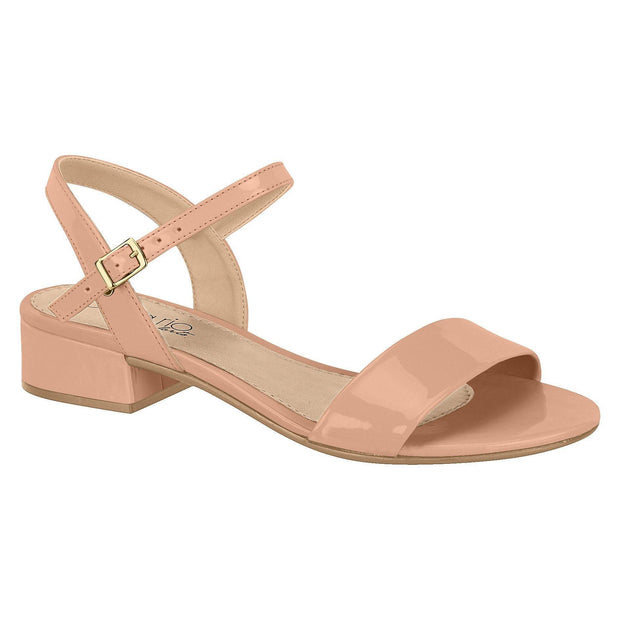 Beira Rio 8374-103 Low Heel Sandal in Nude Patent Sandals Beira Rio