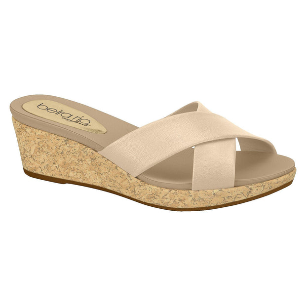Beira Rio 8381-101 Slip-on Wedge in Beige Napa