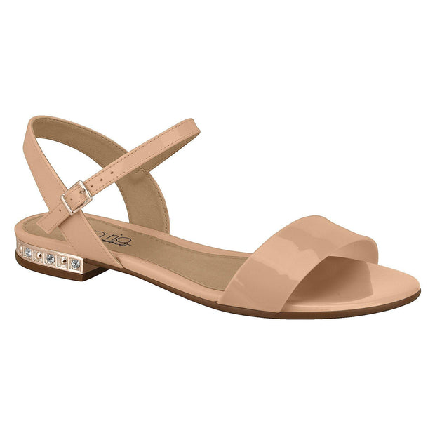 Beira Rio 8386-103 Studded Heel Sandal in Nude Patent