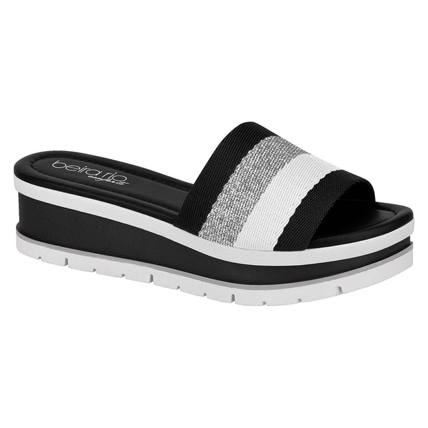 Beira Rio 8393-101 Slip On in Black / Silver / White