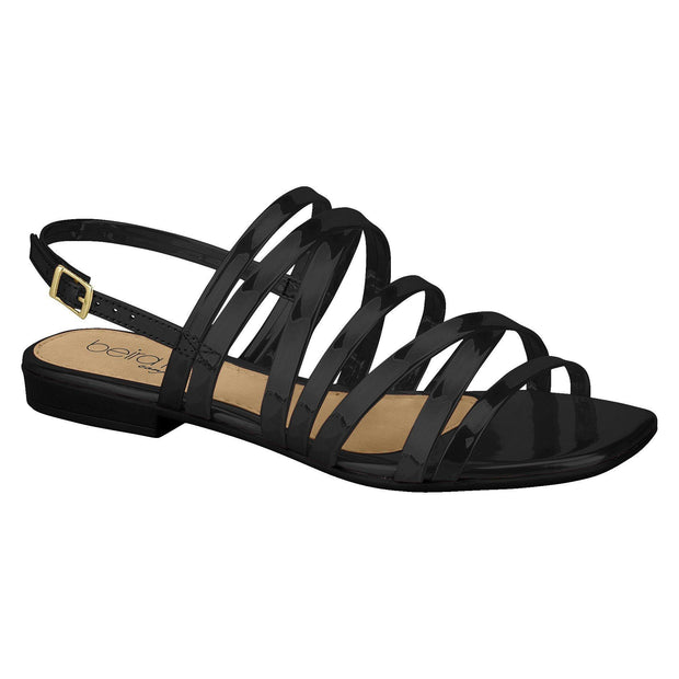 Beira Rio 8394-104 Strappy Flat Sandal in Black Patent Flats Beira Rio