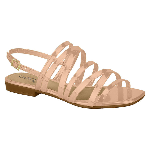 Beira Rio 8394-104 Strappy Flat Sandal in Nude Patent Flats Beira Rio