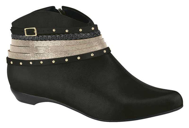 Beira Rio 9037-104 Flat Ankle Boot in Black Napa Boots Beira Rio