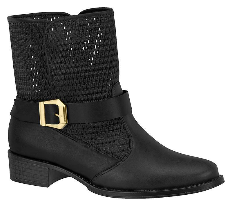 Beira Rio 9045-101 Flat Ankle Boot in Black Napa
