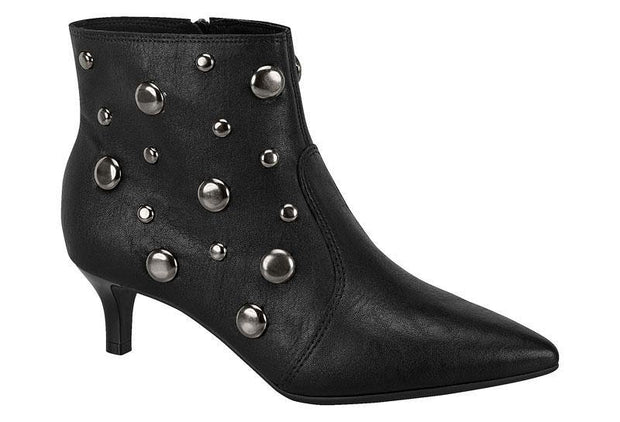 Beira Rio 9060-102 Kitten Heel Ankle Boot in Black Napa