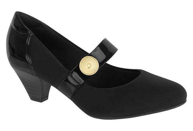 Modare 7005-314 Low Heel Mary-Jane Pump in Black Lycra