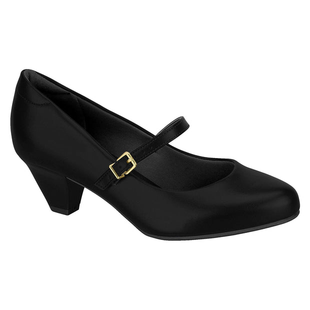 Modare 7005-641 Low Heel Mary-Jane Pump in Black Napa