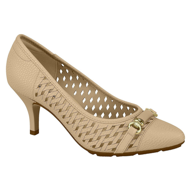 Modare 7013-639 Perforated Kitten Heel Pump in Beige