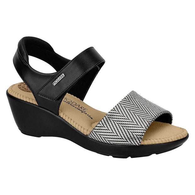 Modare 7023-239 Low Wedge Velcro Strap Sandal in Black / Graphite Wedges Modare