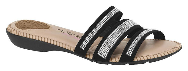 Modare 7025-218 Studded Straps Slip-on Sandal in Black Flats Modare
