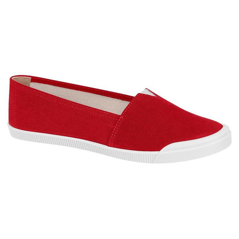 Moleca 5109-406 White Sole Slip-on Flat in Red Canvas