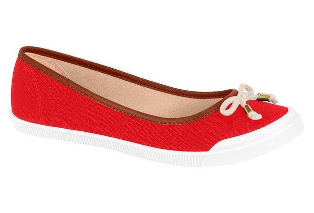 Moleca 5109-411 White Sole Flat in Red