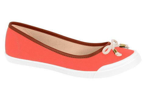 Moleca 5109-411 White Sole Flat in Coral