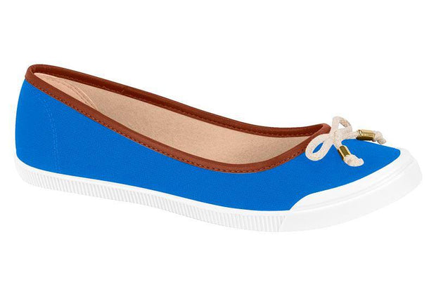 Moleca 5109-411 White Sole Flat in Blue
