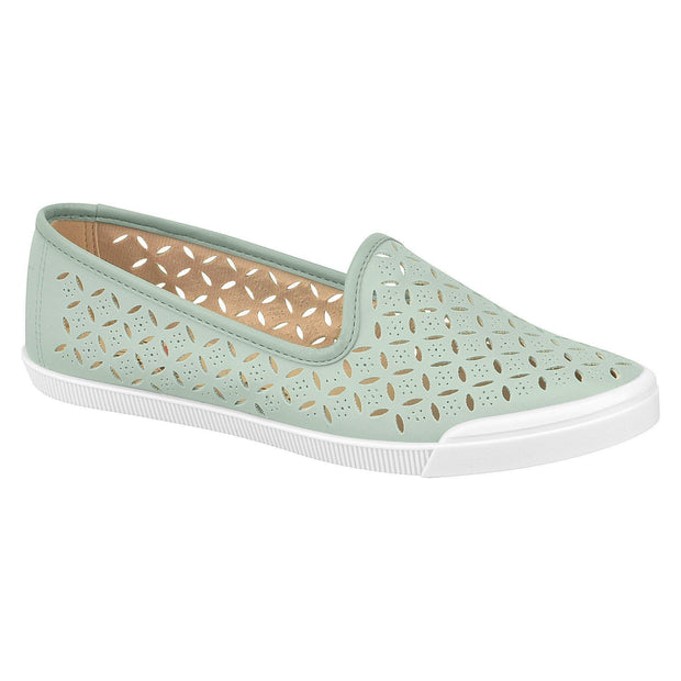 Moleca 5109-654 Perforated Flat in Green Napa