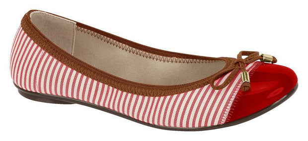 Moleca 5196-325 Elasticated Ballet Flat in Stripey Red Canvas