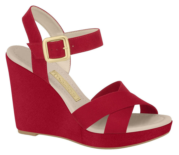 Moleca 5221-704 High Heel Wedge in Red Suede