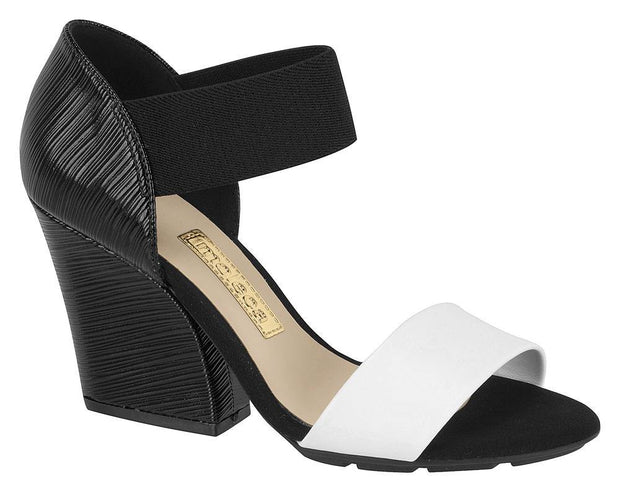 Moleca 5222-123 Block Heel Sandal with Elastic Strap in Black and White