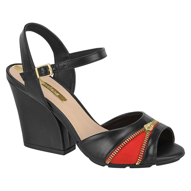 Moleca 5222-342 Block Heel in Black/Red