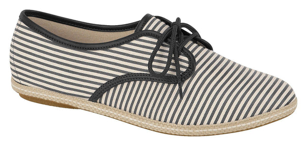 Moleca 5249-212 Stripy Lace-Up Flat in Multi Black
