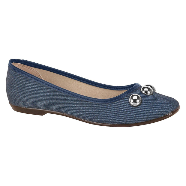 Moleca 5255-323 Flat in Blue Denim Flats Moleca
