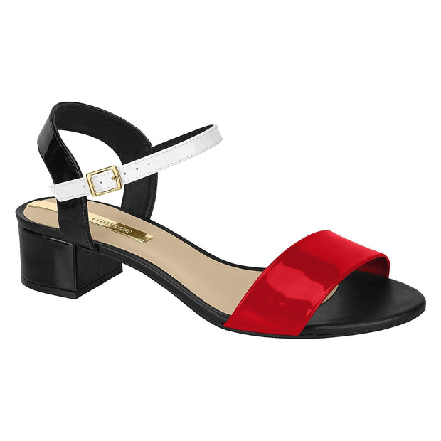 Moleca 5259-505 Low Heel Sandal in Black / Red / White Patent