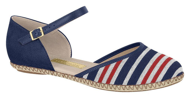 Moleca 5271-403 Strappy Flat in Multi Navy/Red