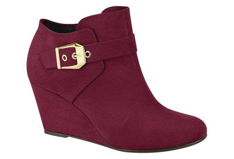 Moleca 5274-204 Ankle Boot Wedge in Wine Suede