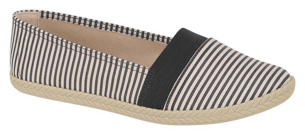 Moleca 5287-103 Nautical Look Canvas Flat in Multi Black