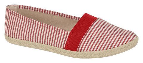 Moleca 5287-103 Nautical Look Canvas Flat in Multi Red