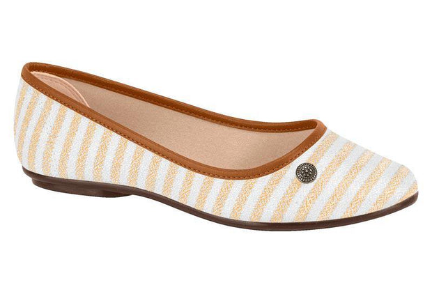 Moleca 5293-100 Canvas Flat in Multi Beige Flats Moleca