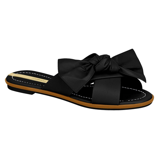 Moleca 5297-329 Bow Slip-on Flat in Black Napa
