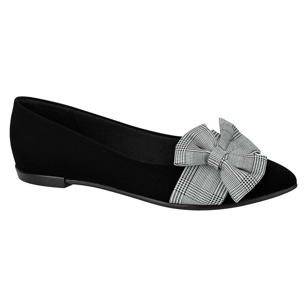 Moleca 5301-241 Tartan Bow Flat in Black Nobuck