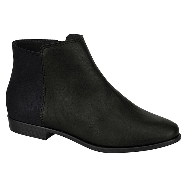Moleca 5304-120 Flat Ankle Boots in Black Napa Boots Moleca