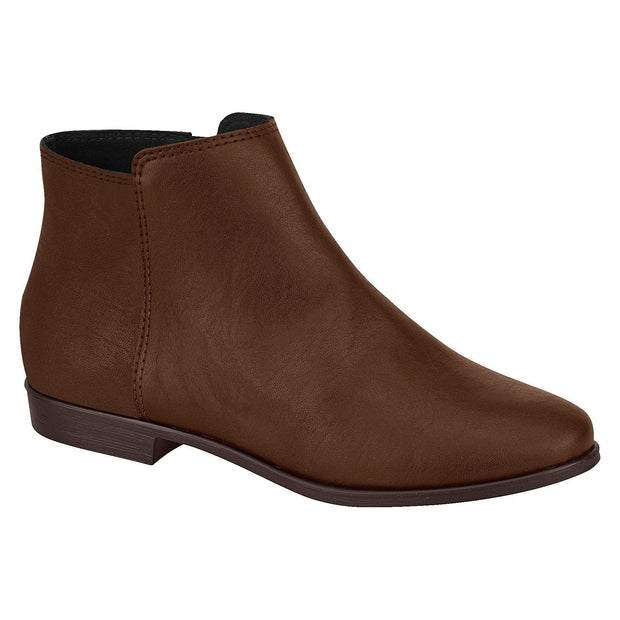 Moleca 5304-120 Flat Ankle Boots in Coffee Napa