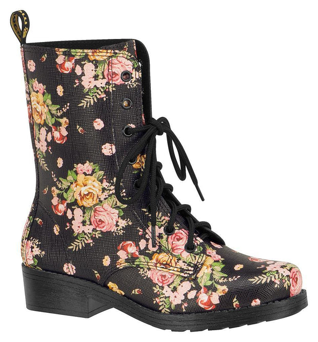 Moleca 5306-101 Floral Lace-up Boot in Multi Black