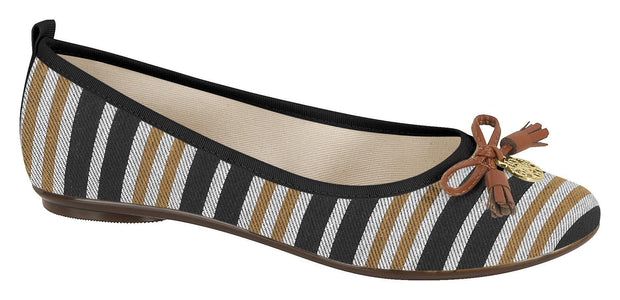 Moleca 5314-203 Stripey Flat in Multi Black