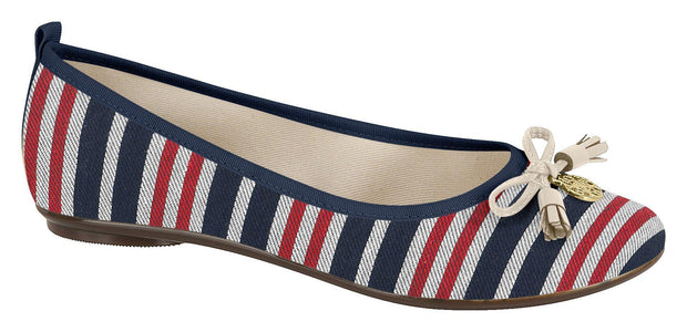 Moleca 5314-203 Stripey Flat in Multi Navy