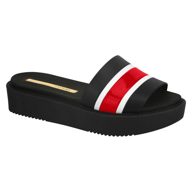 Moleca 5406-416 Flatform Slip On in Black/Red Flats Moleca