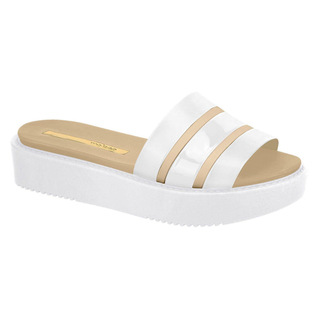 Moleca 5406-416 Flatform Slip On in White / Beige